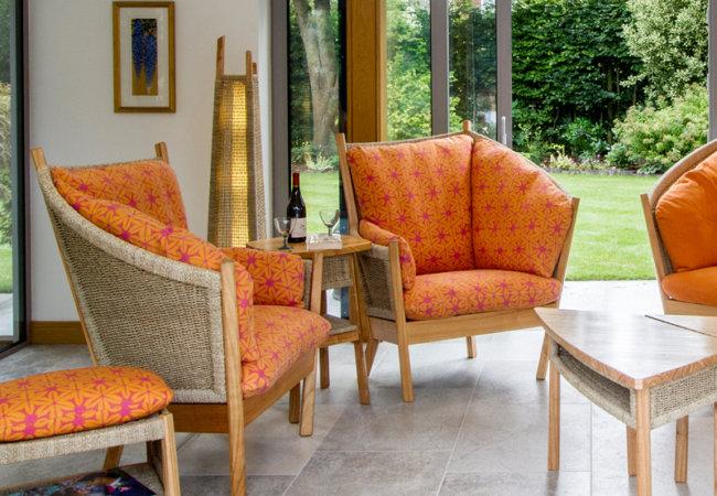 Semarang chairs in Vanessa Arbuthnott Shibori (Tangerine/Sweet Pea)