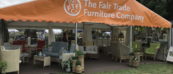 Fairtrade Furniture display stand at a show
