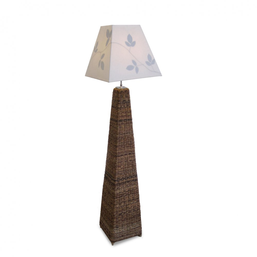 Floor Lamp, Leaf Print Shade, Fair Trade Furniture