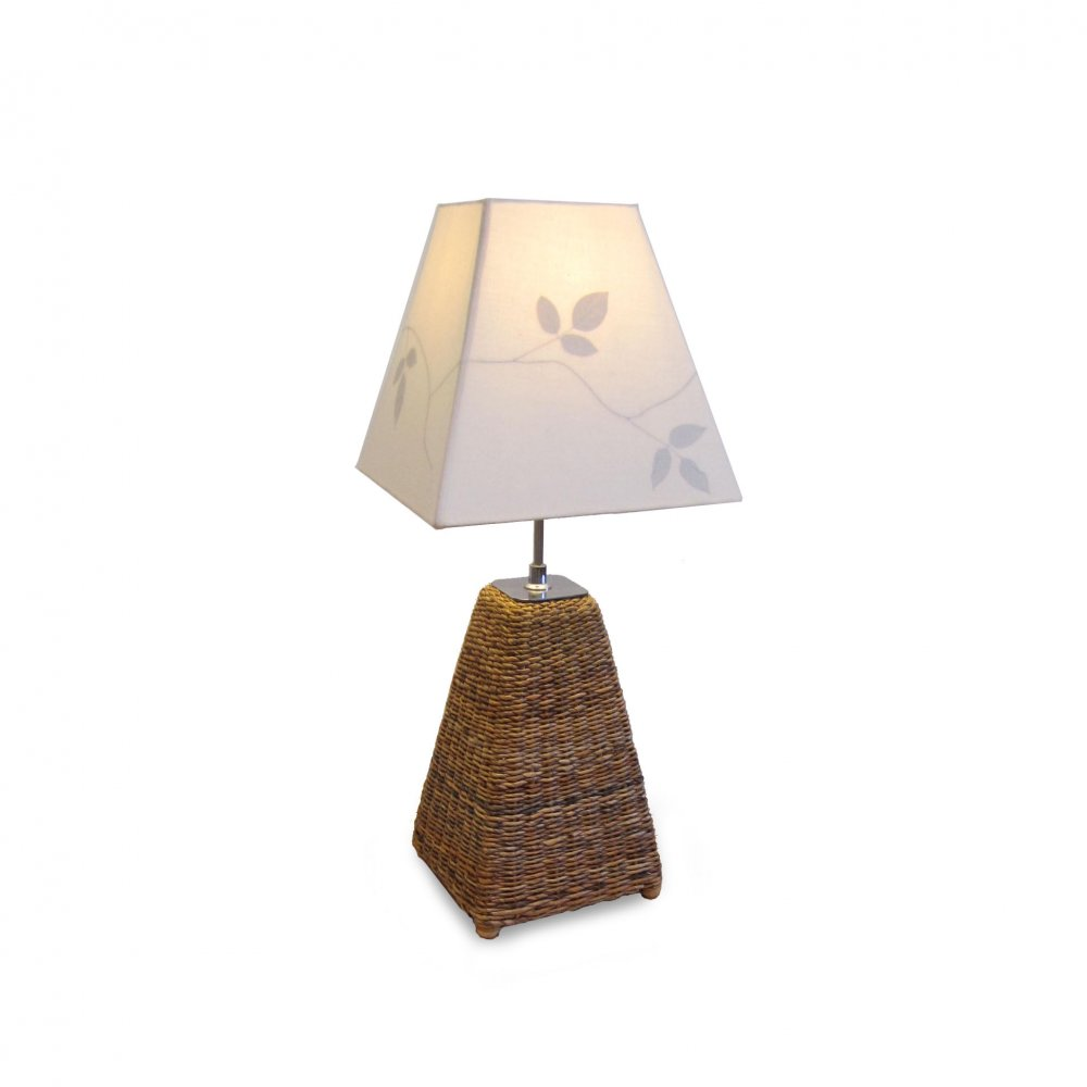 Small Table Lamp - Leaf Print Shade - Fair Trade Furniture
