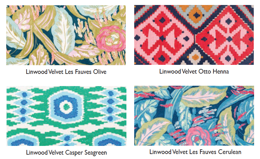 Linwood omega velvet-pattern swatches